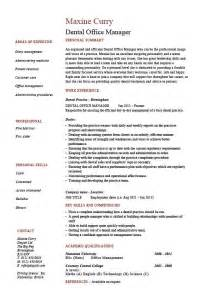 office manager cv exle dental office manager resume exle sle template dentist teeth cv description