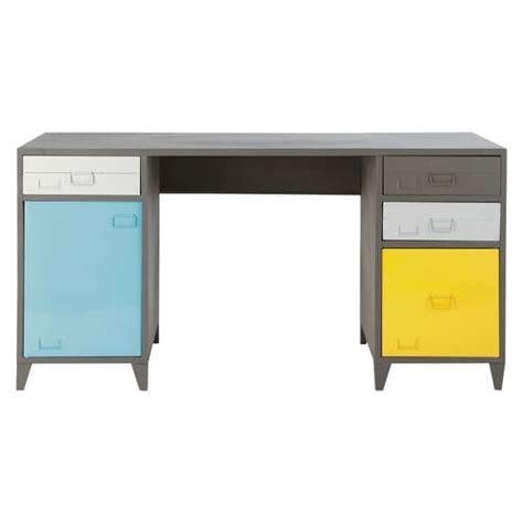 bureau 150 cm bureau indus en métal gris l 150 cm espace maisons du monde