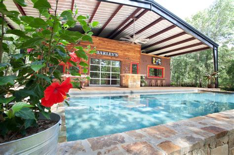 style house canap house with steel canopy rustic pool dallas by