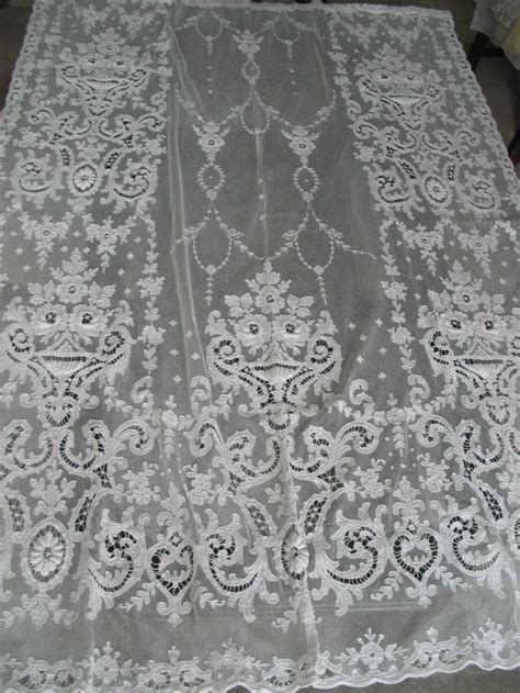 vintage tambour tulle net lace panel curtain bedspread