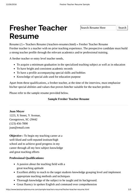 preschool teacher resume  experience templates