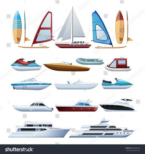 Types Of Boats by Motor Boats Catamaran Windsurfer Sailboat Various Stock