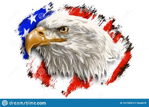 The Head Of An Eagle On A Background Of An Abstract Flag ...