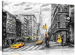 Black White Yellow New York City Oil Painting Canvas Wall ...