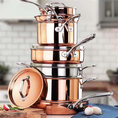 tri ply copper clad induction ready cookware set  piece cookware set pots  pans sets