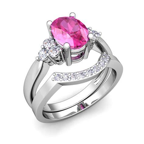 3 stone diamond pink sapphire engagement ring set platinum