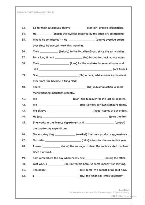 mixed business grammar worksheet worksheet  esl