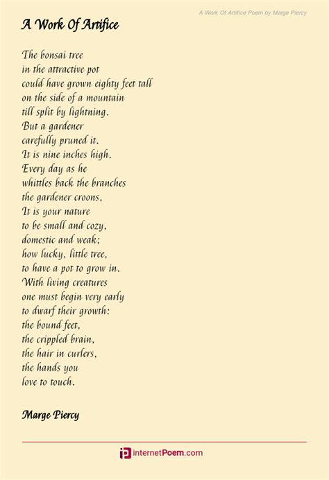 work  artifice poem  marge piercy