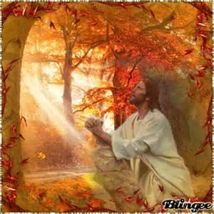 Jesus Praying in Autumn Image