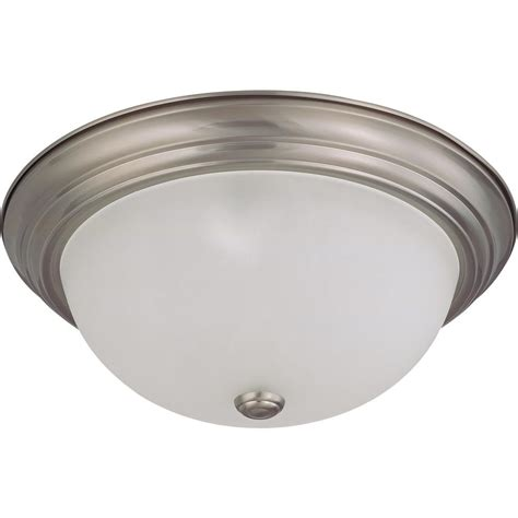 green matters 3 light flush mount brushed nickel dome