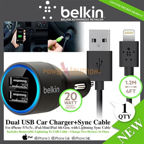 Belkin 2 Car Charger by Belkin 2 1a Dual Usb Car Charger With Lightning Sync Cable