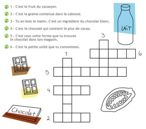 jeux de cuisine de chocolat joue aux mots croisés sur le chocolat la table des enfants