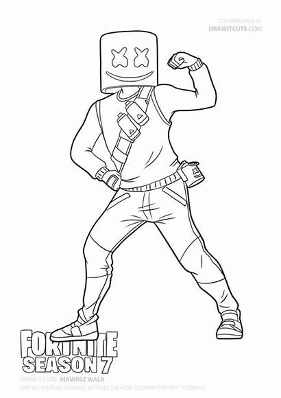 Fortnite Coloring Pages Draw Sheets Marshmello Drawings