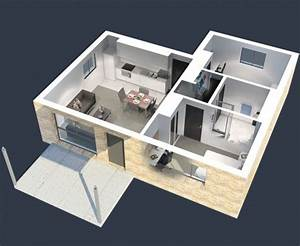 50 plans 3d d39appartement avec 2 chambres With plan d appartement 3d 1 plan de maison 60m2 3d