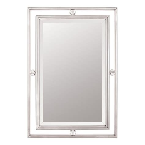 Nickel Framed Bathroom Mirror by Quoizel Downtown 32 In L X 22 In W Brushed Nickel Beveled