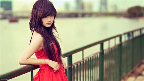 Women Model Asian Red Dress Brunette Wallpapers Hd Desktop And Mobile Backgrounds