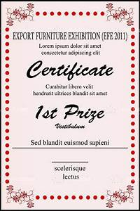 first prize certificate template - 1st prize certificate template with sample text