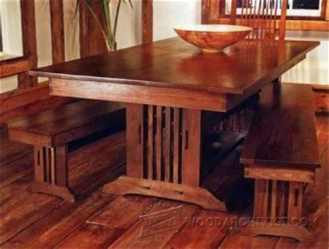 arts  crafts dining table plans woodarchivist
