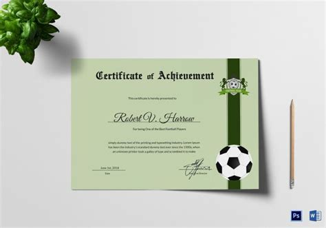 football certificate templates  word