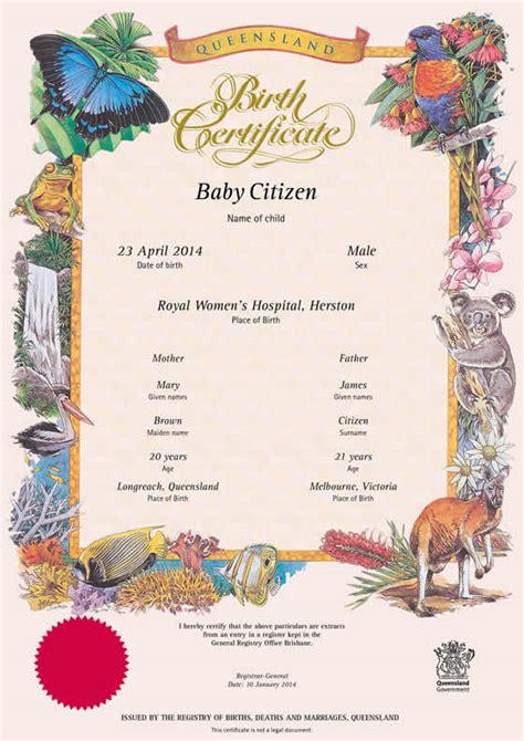 buy  queensland commemorative birth certificate