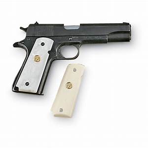 1911 White Pearlite Grips With Colt U00ae Medallion