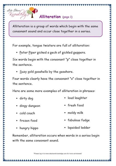 grade  grammar topic  alliteration worksheets