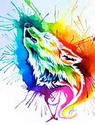 deviantART  More Like Rainbow Burst Wolf  on Ebay  by Lucky978  Colorful Wolf Painting