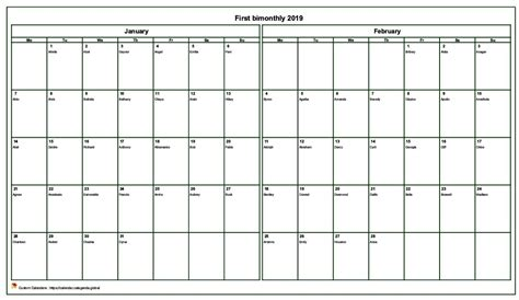 month schedule landscape  names