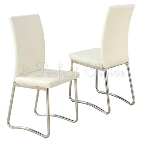 modern 2 pc faux leather upholstered dining side