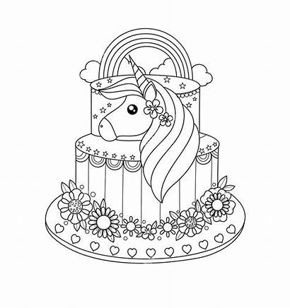 Unicorn Cake Coloring Pages Drawing Printable