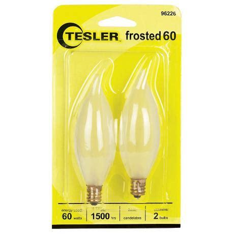 tesler 60 watt 2 pack frosted bent tip candelabra bulbs