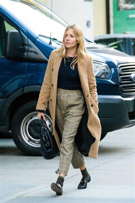 sienna miller wears  beige coat    york