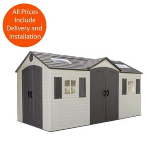 home depot storage sheds installed lifetime installed 15 ft x 8 ft door storage