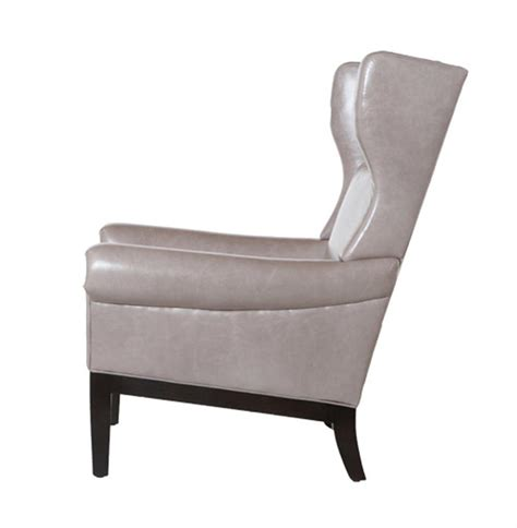 lyto mid century wing back masculine grey leather accent