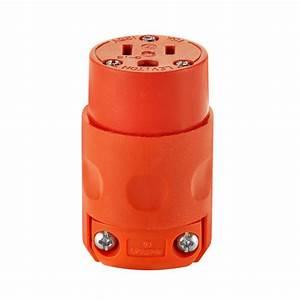 Leviton 15 Amp 125-volt 3-wire Connector Orange-r51-515cv-0or