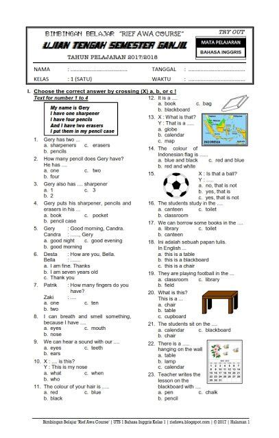 soal ujian tengah semester ganjil uts  bahasa