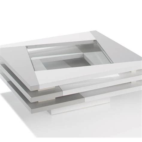 canapé angle convertible coffre table basse laquée blanc et gris city meubles atlas
