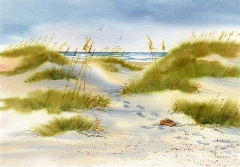 moment  peace beach print  watercolor painting