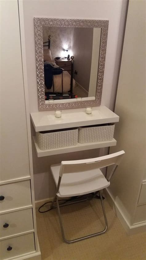 diy dressing table  floating shelves crates seat