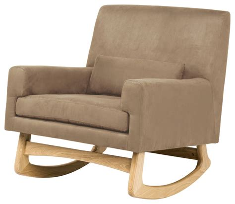 taupe microsuede modern rocker upholstered rocking chair