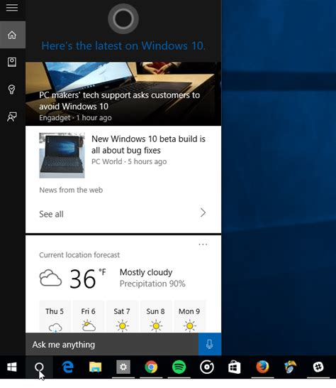 how to manage cortana info cards in windows 10