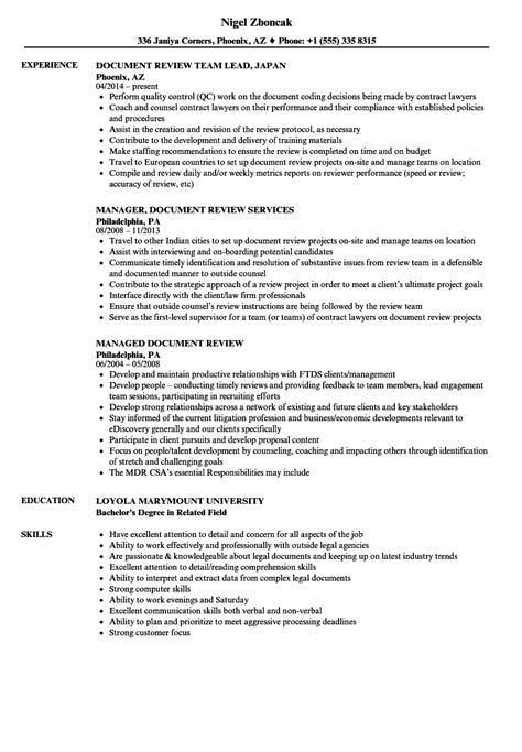 Document Review Resume Samples | Velvet Jobs