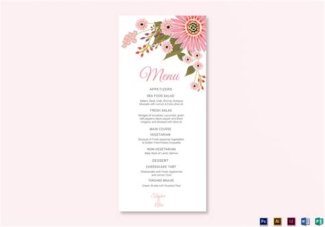 floral wedding menu card design template  illustrator
