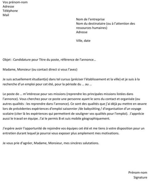 lettre de motivation simple pour emploi model des lettres de motivation jaoloron