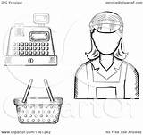Cashier Register Clipart Sketched Basket Sm Tradition Copyright Collc0169 sketch template