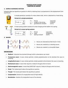 Physics Study Guide Chapter 15  Waves 1  Simple Harmonic