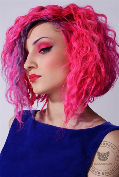 Curly Bright Colored Bob Hair Colors Ideas