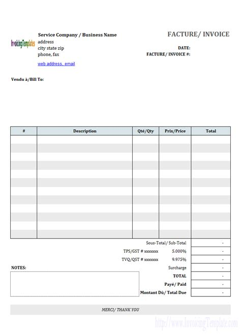 basic service invoice template  french invoice