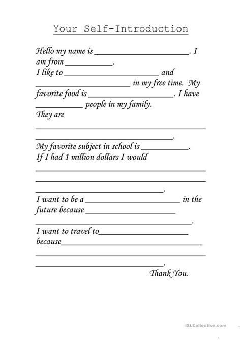 Self Introduction Worksheet  Free Esl Printable Worksheets Made By Teachers