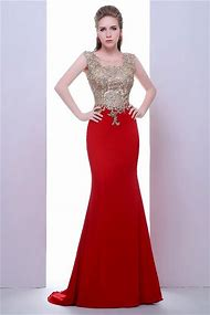 Red and Gold Long Prom Dresses
